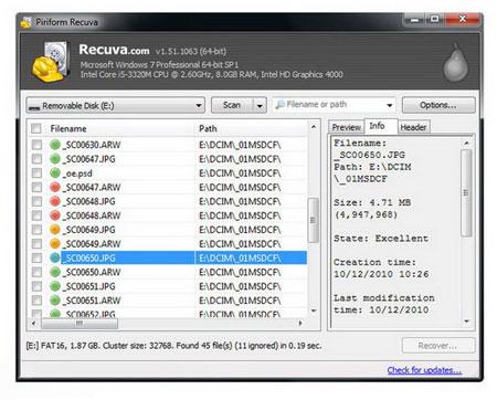 دانستنی ها موبایل ، لپ تاپ و تبلت  , بازیابی فایلهای پاک شده از کارت حافظه