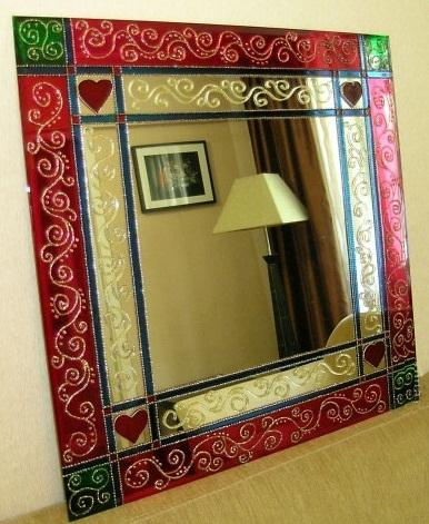 تزئین آینه٬تزئین آینه با ویترای٬ نقاشی روی شیشه٬ ویترای٬ تزیین آینه٬ تزئین آینه با ویترای٬ تزیینات منزل٬ نقاشی روی شیشه٬ هنر دستی٬ هنرهای دستی٬ ویترا, نقاشی روی آینه