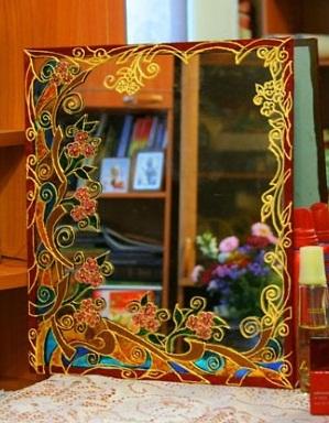 تزئین آینه٬تزئین آینه با ویترای٬نقاشی روی شیشه