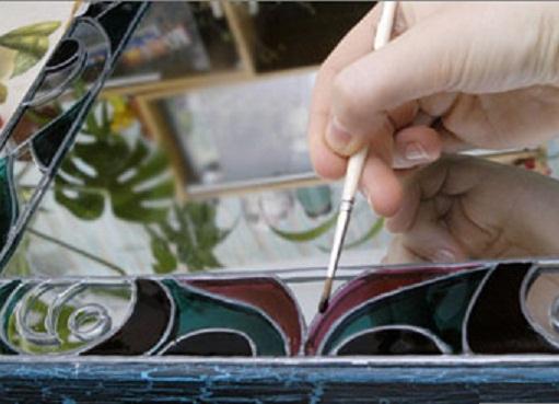 آموزش تزیین آینه با ویترای ,آموزش تزیین آینه, ویترا ,تزیین آینه ,تزیین آینه با ویترای ,ویترای ,آموزش ویترای, آموزش نقاشی روی شیشه ,نقاشی روی شیشه, هنرهای دستی, هنر دستی, تزیینات منزل