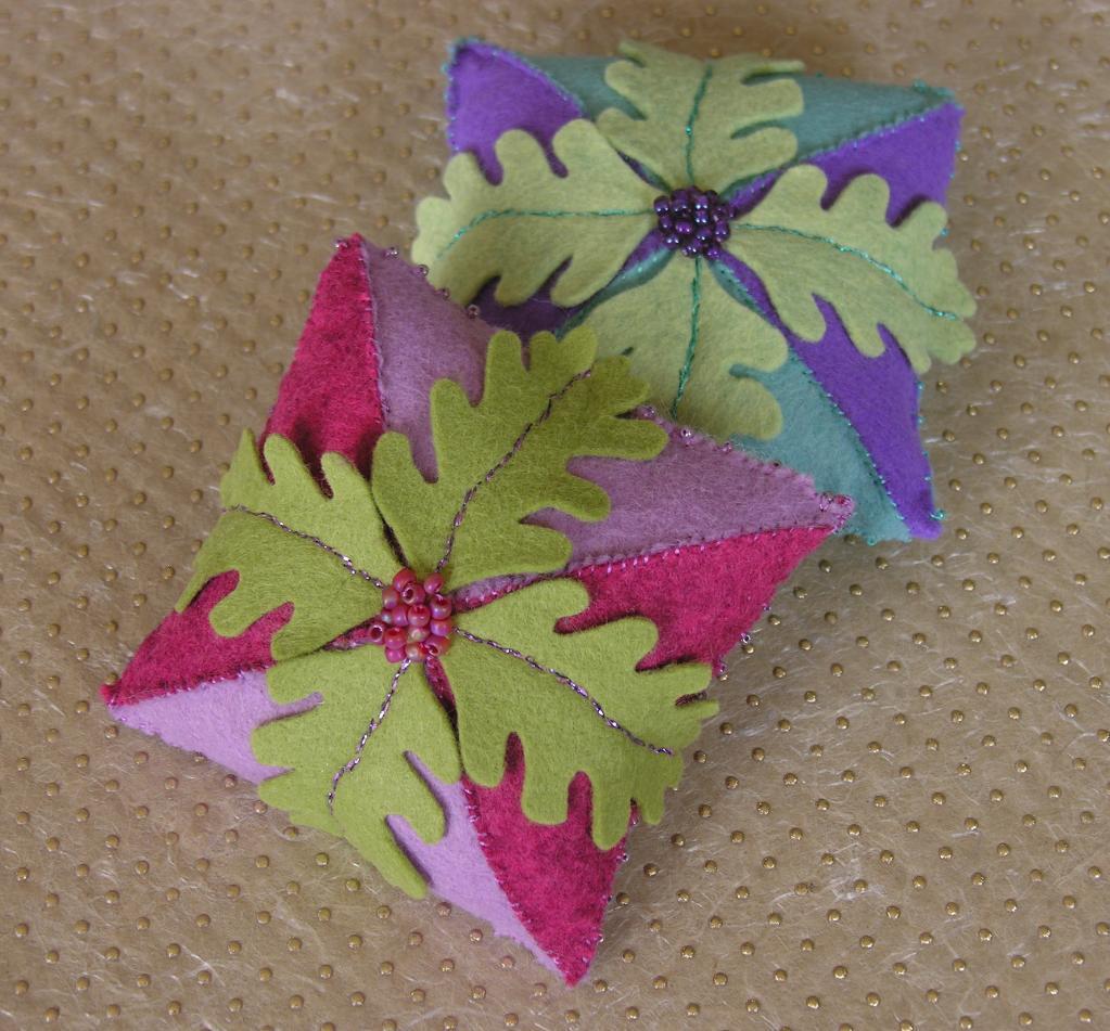 Felt Pincushions with Leaf Designs