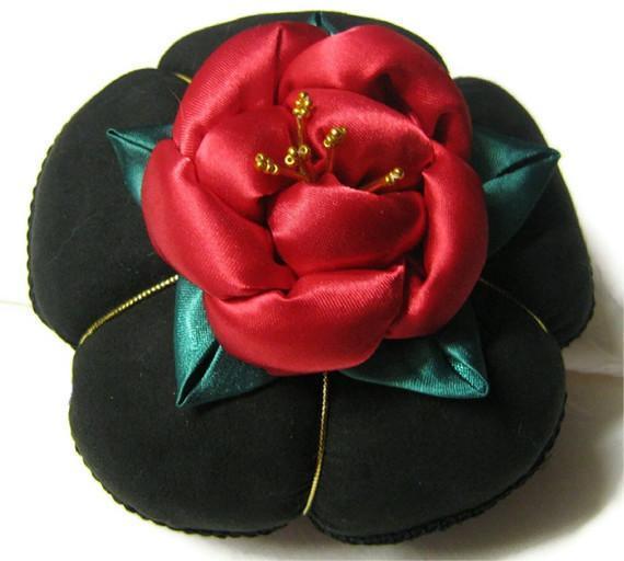 Satin Pincushion with Red Rose