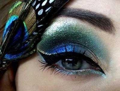 میکاپ چشم به رنگ پرهای طاووس, گالری عکس های زیباترین آرایش چشم طاووسی ,آرایش چشم, میکاپ چشم طاووسی