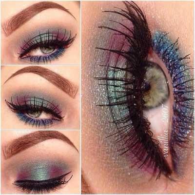 میکاپ چشم به رنگ پرهای طاووس, گالری عکس های زیباترین آرایش چشم های طاووسی ,آرایش چشم, میکاپ چشم طاووسی