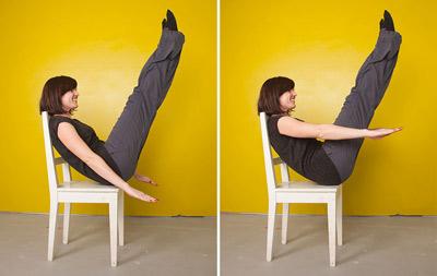 سفت کردن عضلات شکم,تمرینات شکم, تیلاپس با صندلی
