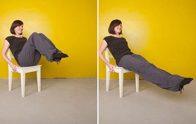 سفت کردن عضـلات شکم,تمرینات شکم, تیلاپس با صندلی