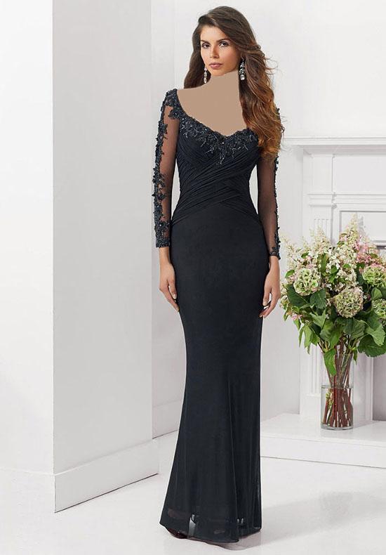 لباس مجلسی و لباس شب زنانه سال 2018 طرح بلند و آستین دار