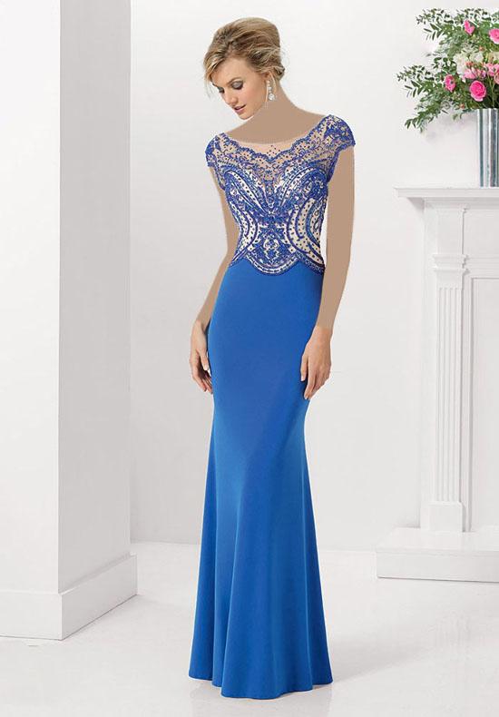 مدل لباس مجلسی آبی و بلند زنانه 2018