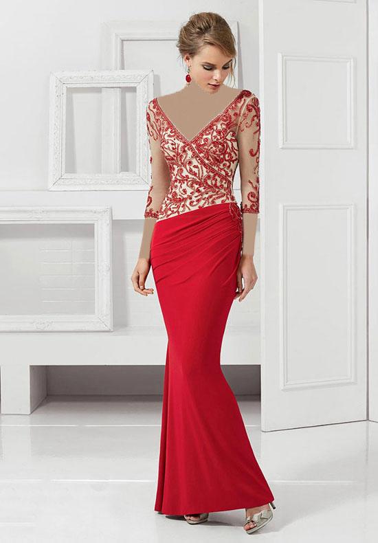 مدل لباس شب قرمز رنگ