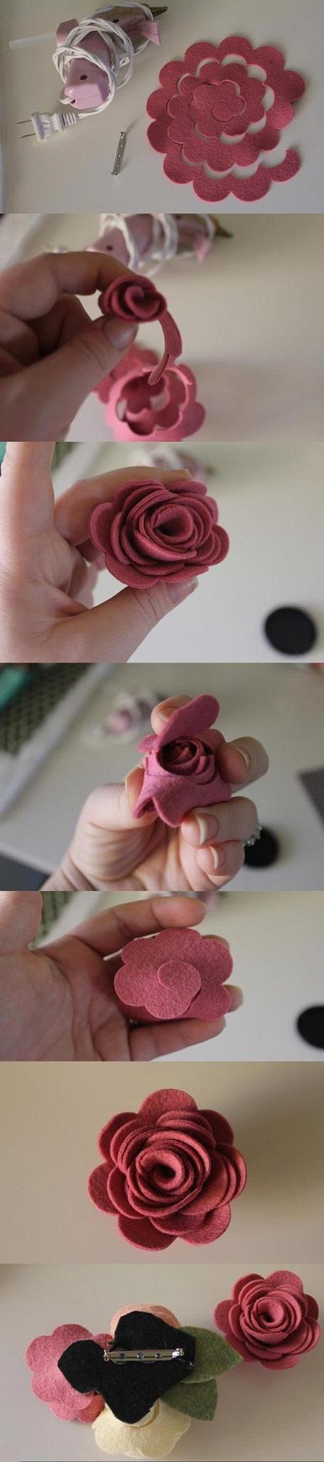 آموزش ساخت گل با فوتر ,ساخت گل های رز نمدی,تزیین گل سر, آموزش درست کردن گل رز نمدی, گلسازی,کاردستی