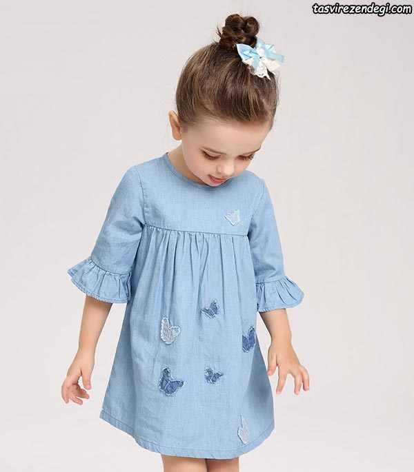 لباس بهاری تابستانی دخترانه پیراهن آبی آستین دار