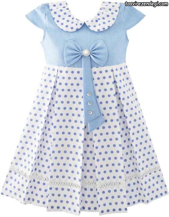 لباس بهاری تابستانی دخترانه پیراهن مجلسی آبی