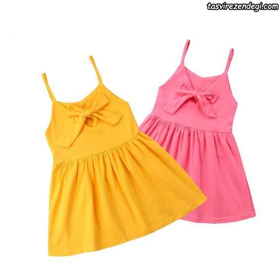 لباس بهاری تابستانی دخترانه پیراهن دو بندی
