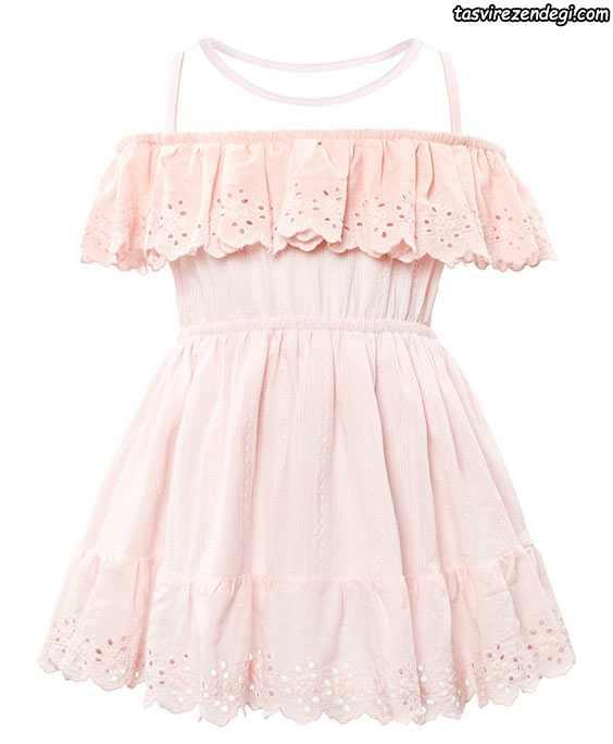 لباس بهاری تابستانی دخترانه پیراهن گیپور صورتی