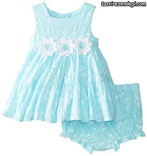 لباس بهاری تابستانی دخترانه پیراهن شورت آبی
