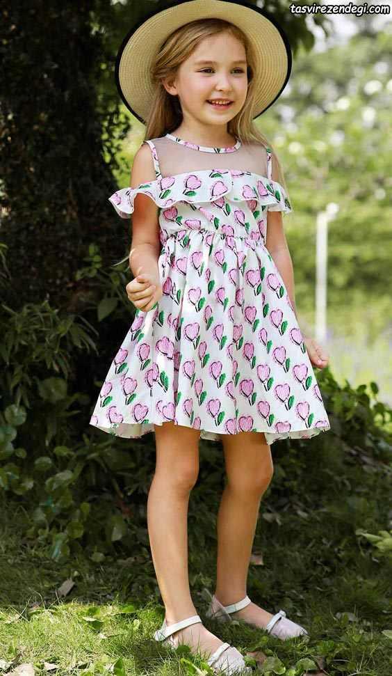 لباس بهاری تابستانی دخترانه پیراهن گلدار
