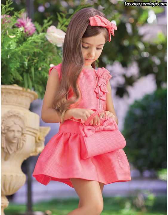 لباس بهاری تابستانی دخترانه پیراهن صورتی مجلسی