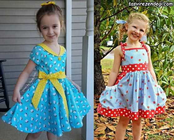 لباس بهاری تابستانی دخترانه پیراهن رنگی
