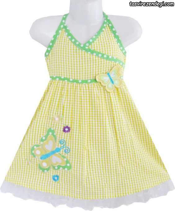 لباس بهاری تابستانی دخترانه پیراهن بند گردنی زرد لیمویی