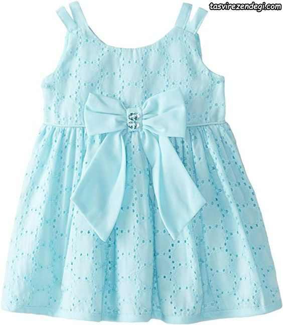 لباس بهاری تابستانی دخترانه پیراهن آبی روشن