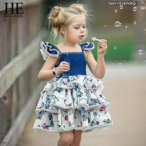 لباس بهاری تابستانی دخترانه پیراهن سه دامنه