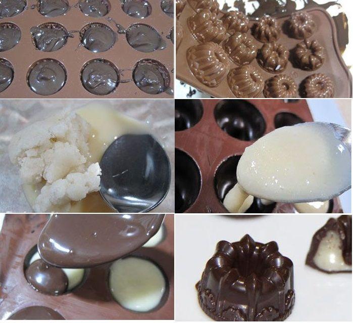 نان، شیرینی، دسر  , طرز تهیه شکلات مغزدار خانگی