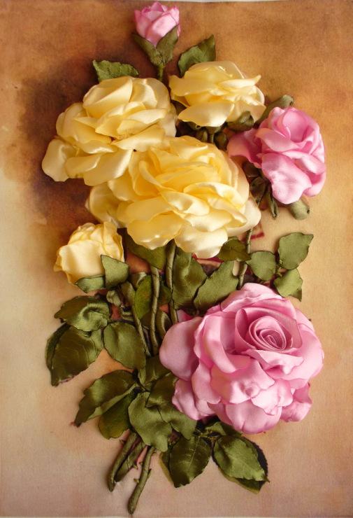 ساخت گل رز - آموزش تصویری درست کردن گل رز روبانی - گلسازی