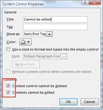 دانستنی ها کامپیوتر  , غیرقابل ویرایش کردن بخشهایی از متن در Word