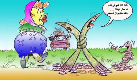 کاریکاتور سیزده بدر - سیزده فروردین - کاریکاتور روز طبیعت - طنز سیزده
