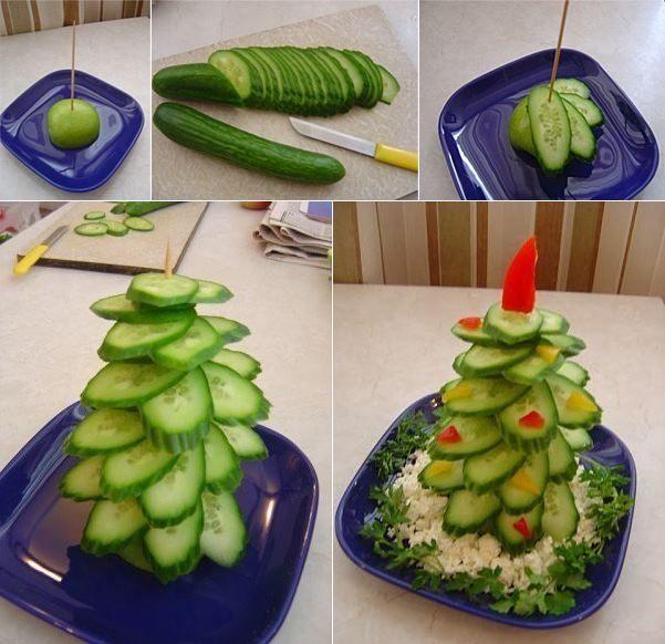 آموزش تزیین خیار - میوه آرایی - سبزی آرایی - تزیین خیار به شکل درختچه