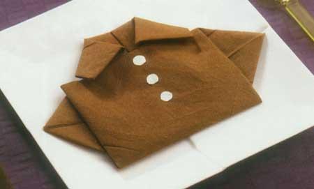 آموزش تصویری تزیین دستمال سفره به شکل پیراهن