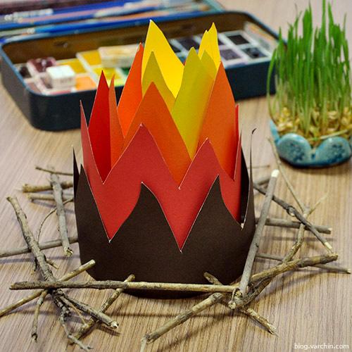 آموزش ساخت پاکت آجیل , الگوی ساخت پاکت آجیل , آتش کاغذی , کاردستی آتش کاغذی و پاکت آجیل , کاردستی کاغذی , کاردستی مقوایی ,چهارشنبه سوری