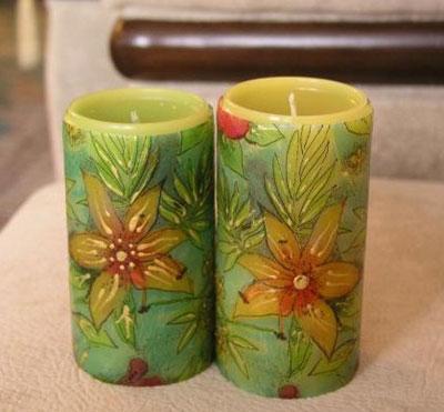 تزیین شمع, تزیین شمع هفت سین, مدل دکوپاژ شمع , مدل دکوپاژهای روی شمع, تزیین شمع های سفره هفت سین, مدل شمع های هفت سین, نمونه تزیین شمع, آموزش شمع های دکوپاژ
