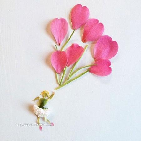 تصاویر دیدنی عکس و کلیپ  , خلق آثار هنری با گل و برگ گیاهان
