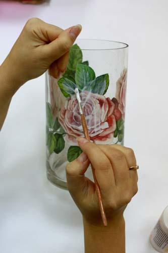 تکنیک پتینه - دکوپاژ - نما ترک - تزیین ظرف شیشه ای - کهنه کردن