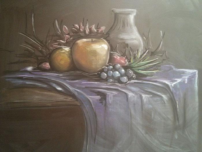 نقاشی با گچ - نقاشی روی تخته سیاه - نقاشی های بی نظیر یک معلم