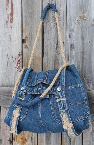 استفاده از شلوار جین قدیمی - دوخت کیف پارچه ای - مدل کیف جین