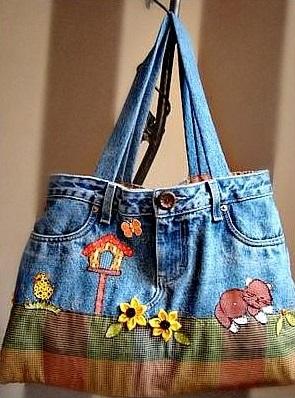 استفاده از شلوارهای جین قدیمی - دوخت کیف - مدل کیف جین