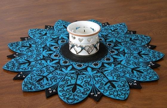 رومیزی نمدی - رومیزی های زیبای تکه دوزی با فوتر - نمونه کار تکه دوزی