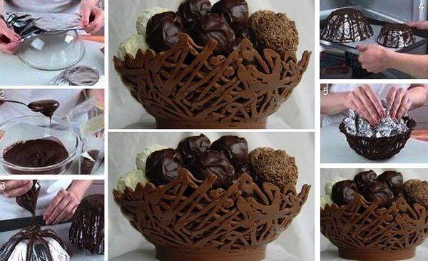 طرز تهیه کاسه شکلاتی - ظرف شکلاتی - دسر مجلسی