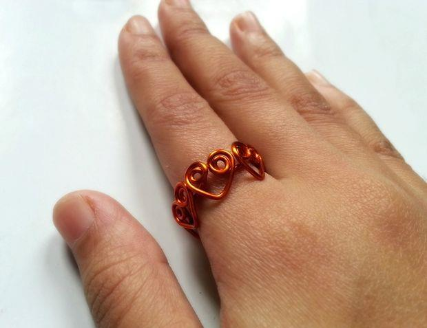 آموزش تصویری ساخت حلقه قلب - ساخت زیور آلات سیمی