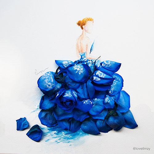 آثار هنری با ترکیب گلبرگ گل و نقاشی آبرنگ