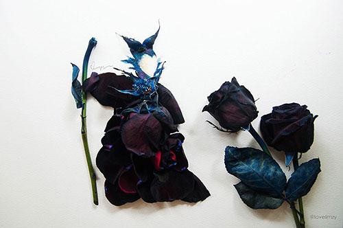 تصاویر دیدنی عکس و کلیپ  , آثار هنری با ترکیب گل و نقاشی آبرنگ