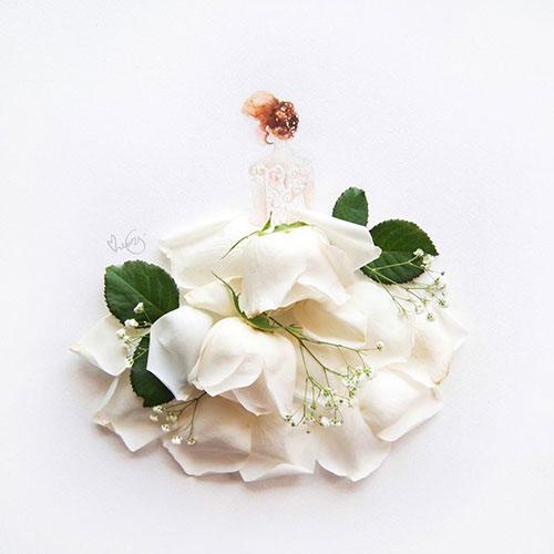 ترکیب خلاقانه و هنرمندانه گل و نقاشی