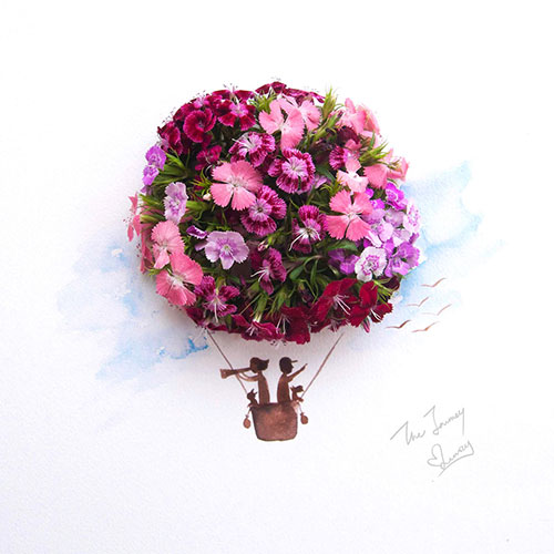 آثار هنری با ترکیب گل و نقاشی آبرنگ