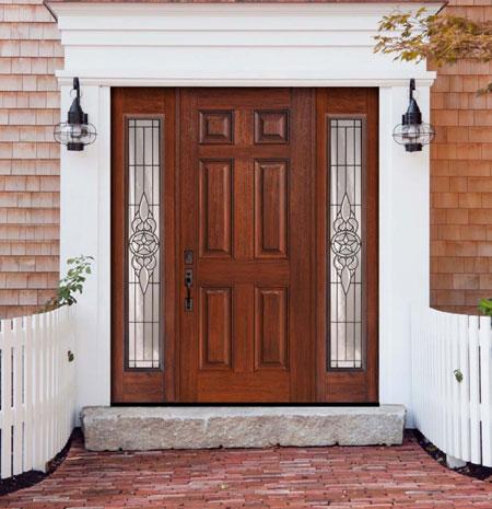 مدل درب ورودی ساختمان - درب منزل - در خانه - در چوبی - درب نما چوب