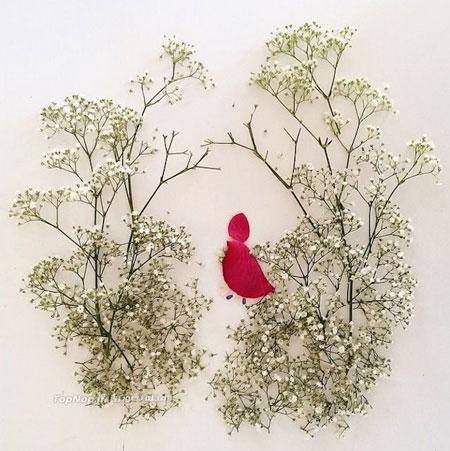 هنرنمایی با گلبرگ و برگ - نقاشی با گل ها و برگ ها - Flora Borager