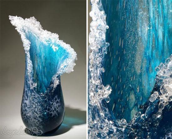 تصاویر دیدنی عکس و کلیپ  , گلدان های زیبا به شکل امواج دریا