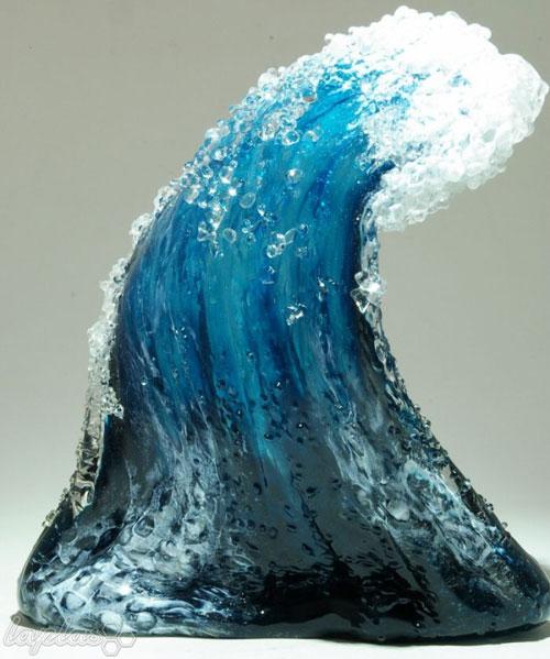 گلدان هایی به شکل امواج دریا - شیشه گری
