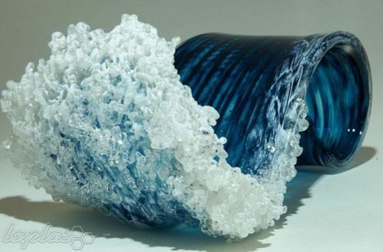 گلدان هایی زیبا به شکل امواج دریا - شیشه گری
